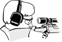 drawning of a man looking down a scope with ear protection and eye protection